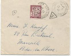 63 - CHATEAUNEUF LES BAINS : Lettre Non Affranchie  , Taxe 1,5 X 2 = 3 F - 1921-1960: Période Moderne