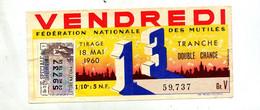 Billet Loterie Nationale 1960 Vendredi 13  Theme Chat - Biglietti Della Lotteria
