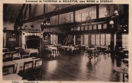 Restaurant De L'Auberge De Bellevue, Entre Reims Et Epernay - Photo-Studio Sandor, Carte Sépia De 1936 - Ristoranti