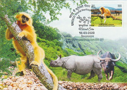INDIA 2020 MaxiCard UNESCO World Heritage Sites, Monkey Rhinoceros Bull Manas Santuary 2/5 Maxi Cards ( (**) Inde Indien - Osos