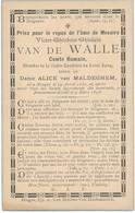 Brugge / Doodsprent / Bidprent  / Graaf Van De Walle / 1896 - Imágenes Religiosas