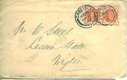 GB 1899 ½d Vermilion Pair On Cover From CARLISLE To WIGTON - Briefe U. Dokumente