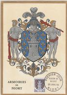 Carte Maximum FRANCE 1962/65 - N°Y&T 1351A (NIORT - ARMOIRIES) Obl Sp 1er Jour 25/01/1964 (Ed Imbert) - 1960-69