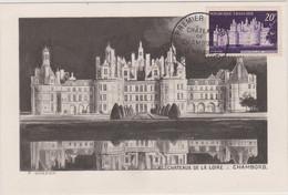 FRANCE 1952 CARTE MAXIMUM N° 1er Jour Château De Chambord N°YT 924 Cachet 1er Jour 30.5 1952 + Cachet Officiel CM - 1950-59