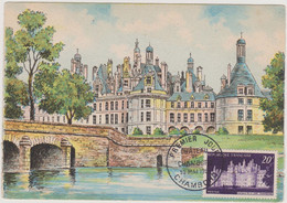 FRANCE 1952 CARTE MAXIMUM 1er Jour Château De Chambord N°YT 924 Cachet 1er Jour 30.5 1952 - 1950-59