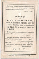 Zaffelare / Stekene / Doodsprent / Bidprent  / 1872 - Imágenes Religiosas