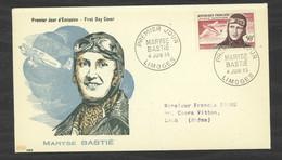 0LE  028  -  France  -  FDC  :  Yv  Av  34  (o)   Maryse Bastié  Limoges - 1950-1959