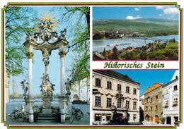 1 AK Niederösterreich * Krems-Stein - Barocke Dreifaltigkeitssäule, Die Donaubrücke - Das Köchelhaus Und Ehem. Mauthaus - Krems An Der Donau
