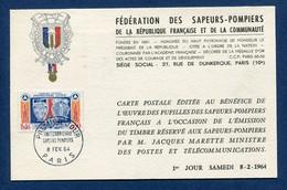 ⭐ France - FDC - Premier Jour - Carte Maximum - Protection Civile Sapeurs Pompiers - 1964 ⭐ - 1960-69