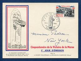 ⭐ France - FDC - Premier Jour - Carte Maximum - Victoire De La Marne - 1964 ⭐ - 1960-69