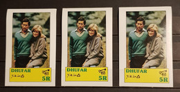 DHUFAR PRINCE OF WALES &LADY DIANA SPENCER 3 BLOCKS IMPERFORED MNH - Familias Reales