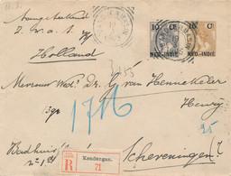 Nederlands Indië - 1905 - 15 Cent Bontkraag, Envelop G20 + 10 Cent R-Kendangan, VK Bandjermasin Naar Scheveningen - Nederlands-Indië