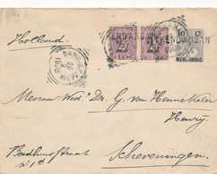 Nederlands Indië - 1905 - 10 Cent Bontkraag, Envelop G18 + 2x 2,5 Cent Van L KENDANGAN En VK Bandjermasin - Scheveningen - Nederlands-Indië