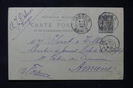 MAROC - Entier Postal Type Sage Surchargé, De Tanger Pour Yvert Et Tellier à Amiens En 1902 - L 86283 - Brieven En Documenten