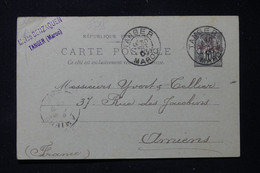 MAROC - Entier Postal Type Sage Surchargé, De Tanger Pour Yvert Et Tellier à Amiens En 1903 - L 86284 - Brieven En Documenten