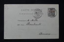 MAROC - Entier Postal Type Sage Surchargé, De Tanger Pour Amiens En 1896 - L 86285 - Brieven En Documenten