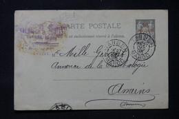 MAROC - Entier Postal Type Sage Surchargé, De Tanger Pour Yvert Et Tellier à Amiens En 1895 - L 86287 - Brieven En Documenten