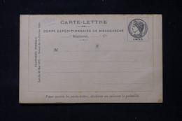 MADAGASCAR - Carte Lettre Du Corps Expéditionnaire De Madagascar, Non Circulé, Dans L'état - L 86291 - Storia Postale