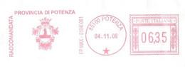 ITALIA - 2008 Provincia Di POTENZA - Stemma: AQUILA Uscente Da 3 Onde - Affrancatura Meccanica Rossa Red Meter - Marcofilie - EMA (Print Machine)