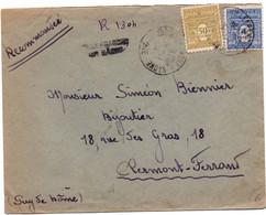 Villefranche Sur Saône - Lettre Recommandée Sans étiquette Avec Griffe Sur Arc De Triomphe - 24.11.1944 - 1961-....