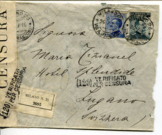 61934 Italia, Circuled Registered Cover Censured From Milano (via Manzoni) To Lugano Switzerland - Zonder Classificatie
