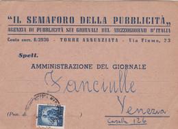 ITALIA - TORRE ANNUNZIATA (NA) - STORIA POSTALE - IL SEMAFARO DELLA PUBBLICITA' - VG PER VENEZIA - 1946-60: Marcofilie