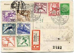 ALLEMAGNE ENTIER POSTAL RECOMMANDE AVEC AFFRANCHISSEMENT COMPLEMENTAIRE LES N°565/572 J.O. 1936 DEPART DRESDEN 2-8-36... - Zomer 1936: Berlijn