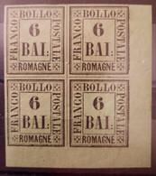 Italy/Italie Romagne N°7 Bloc De 4 CdF * TB Cote 900€ - Romagna