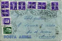61936 Italia, Circuled Cover 1936 (ambulant Postmark) To Rio De Janeiro, (see 2 Scans) - Marcofilie (Luchtvaart)