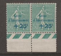 """Caisse D'amortissement N°247 Variété """"i De Amortissement Sans Point"""" Tenant à Normal - Curiosities: 1900-20 Mint/hinged"""