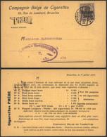 Belgique WWI 1917 - Carte Postale Bruxelles Vers Ath - Censure - Compagnie Belge De Cigarettes - [OC1/25] Gen. Gouv.
