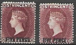 1891 St Vincent  Mint Hinged * Two Different Colour Tones 31,50 Euros - St.Vincent (...-1979)
