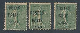 DX-355: FRANCE: Lot Avec Preo N°25 NSG (3) - 1893-1947