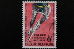 """1969,BELGIQUE Y&T NO 1498 6F POLYCHROME ET ROSE """"CHAMPIONNATS DU MONDE DE CYCLISME SUR ROUTE"""" ZOLDER.. - Oblitérés"""