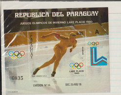 Paraguay 1980 Lake Placid Olympic Games Souvenir Sheet MNH/** (H35) - Winter 1980: Lake Placid