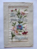 Cpa, Carte Brodée, De Près, De Loin, Toujours, Bouquet De Fleurs - Bordados