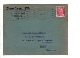 GANDON  SUR LETTRE A EN TETE DE PARIS 65 1948 - 1921-1960: Période Moderne
