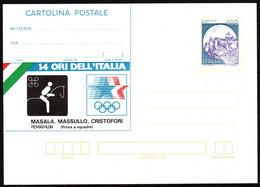1984 Italia, Cartolina Postale Da Lire 400 Con Soprastampa Privata Ori Olimpiade Los Angeles 1984 - Postwaardestukken