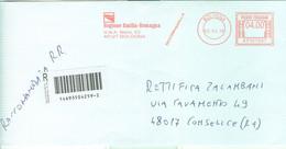 """REGIONE  EMILIA-ROMAGNA"",BUSTA CON LOGO,AFFRANCATURA ROSSA,RACC. A/R € 4,00 - 2014 - Marcofilie - EMA (Print Machine)"
