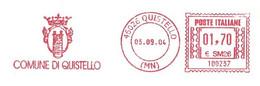 ITALIA - 2004 Comuni D'Italia: QUISTELLO (MN) - Stemma: TORRE - Ema Affrancatura Meccanica Rossa Red Meter - Marcofilie - EMA (Print Machine)