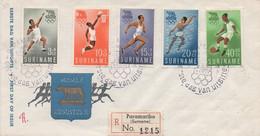 1960 Olimpiadi Roma - Serie Suriname Su BU Con Annullo Speciale FDC Spedita Raccomandata - Otros