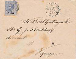 Nederland - 1888 - 5 Cent Willem III Op Briefje Van KR Treinstempel Meppel-Gron./D Naar Nijmegen - Postal History