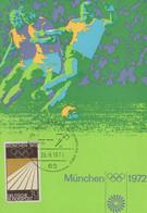 1972 Olimpiadi Monaco Cartolina Ufficiale Calcio Con Annullo Speciale Maximum - Otros