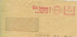 """NESTLE',ROWNTREE"", AFFRANCATURA ROSSA LOGO, SU BUSTA ,2004-YORK  (GREAT BRITAIN)-INGHILTERRA, - Marcofilie - EMA (Print Machine)"