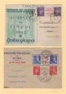 Journee Du Timbre 1942 - Rennes - Dijon - Paire Interpanneau Avec Surcharge - 1921-1960: Période Moderne