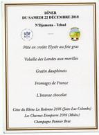 P - MENU DU DINER DU 22.12.2018 A N'DJAMENA AU TCHAD - ENTRE LE PRESIDENT MACRON ET LES SOLDATS DE L'OPERATION BARKHANE - Menus