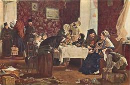 Themes Div-ref FF942-arts-peinture -tableaux -tableau- Peintre Korzouchine -dans L Auberge Du Monastere - - Russland