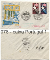 078 Sobre Certificado A Barcelona: EXPOSICION UNIVERSAL BRUSELAS FDC - 1951-60 Brieven