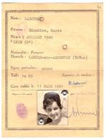 CARTE NATIONALE D'IDENTITE -R.F. - VILLEFRANCHE /RHONE N°LC73998  1961 - Visitenkarten