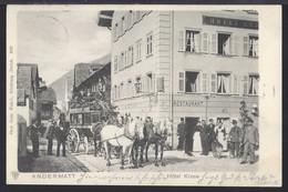 Andermatt - Hotel Krone - Diligence - Postkutsche  - Belebt – Animée - 1901 - UR Uri